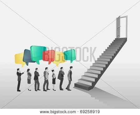 Business people in queue to climb stairs on grey background