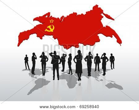 Digitally generated Business people standing under russia graphic