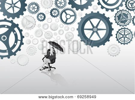 Digitally generated Businesswoman in swivel chair holding umbrella under cogs and wheels