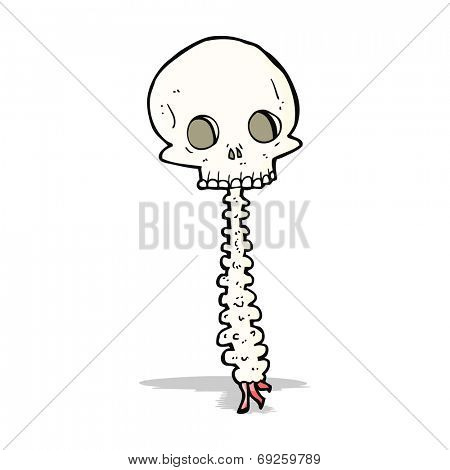 spooky cartoon skull and spine