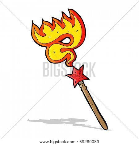 cartoon magic wand casting fire spell