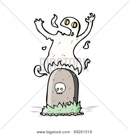cartoon ghost rising from grave
