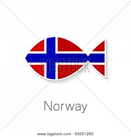Flat icon - Norway fish - fish shape in the color of the flag of Norway.