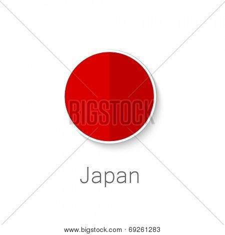 Flat icon -  Japan sun - circle shape in the color of the flag of Japan.