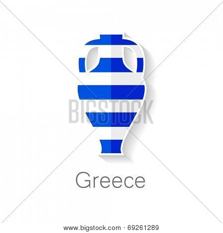 Flat icon - Greece amphora - amphora shape in the color of the flag of Greece.