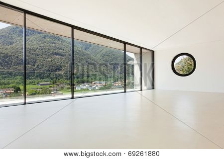 House, interior, modern architecture, wide room, view from window