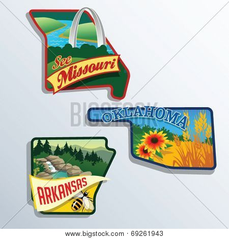 Oklahoma, Arkansas, Missouri, United States vector illustrations