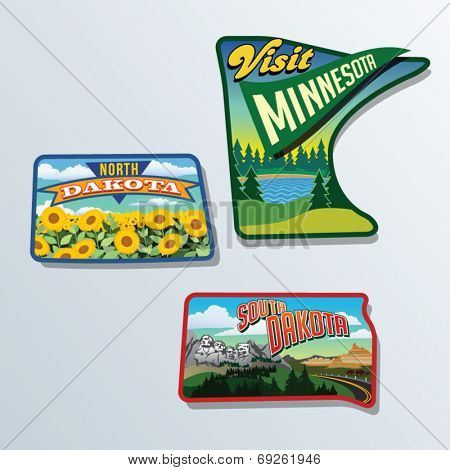 South Dakota, North Dakota, Minnesota, United States vector illustrations