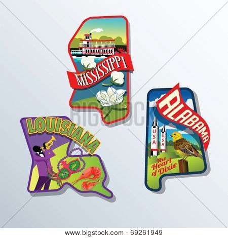 Louisiana, Alabama, Mississippi, United States vector illustrations