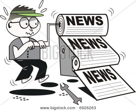 Newspaper printing cartoon