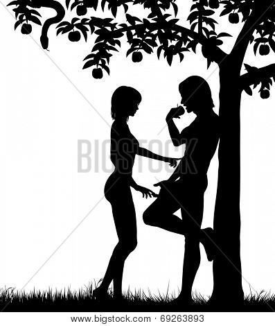Editable vector silhouettes of Adam and Eve and an apple tree with all figures as separate objects