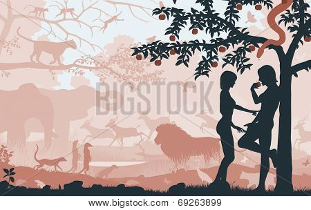 Editable vector silhouettes of Adam and Eve in the Garden of Eden with all figures as separate objects