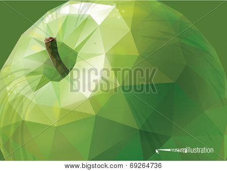 Vector green apple background. Low-poly triangular style illustration