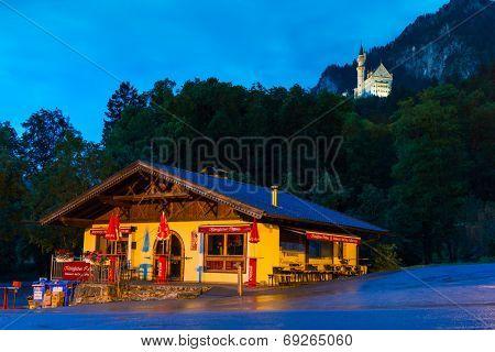 HOHENSCHWANGAU, GERMANY - 19 JUNE 2014: Bavarian architecture of Hohenschwangau village at Neuschwanstein Castle, Germany. Hohenschwangau is a village located between two popular castles.