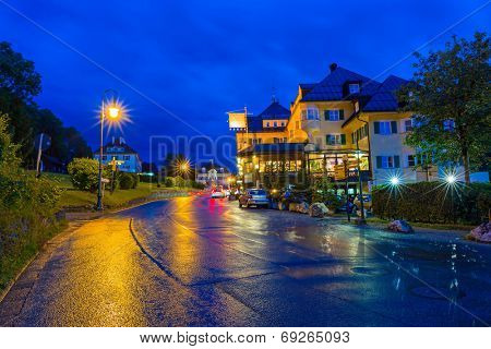 HOHENSCHWANGAU, GERMANY - 19 JUNE 2014: Hotel Muller in Hohenschwangau village at Neuschwanstein Castle, Germany. Hohenschwangau is bavarian village located between two popular castles.