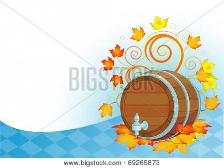Decorative Oktoberfest design with beer wood keg
