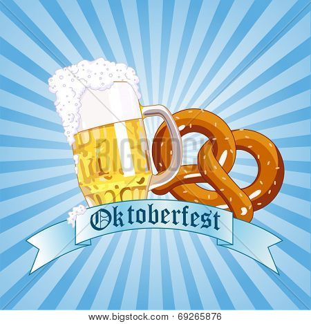 Oktoberfest Celebration Radial Background with Copy space.
