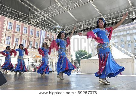 ZAGREB, CROATIA - JULY 20: Members of folk groups Egyptian National Folklore Troupe from Egypt during the 48th International Folklore Festival in center of Zagreb,Croatia on July 20, 2014