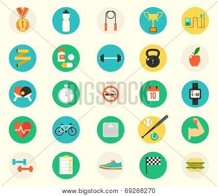 fitness sport and health colorful flat design icons set.