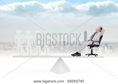 Scales weighing businessman on swivel chair and stick men against cityscape