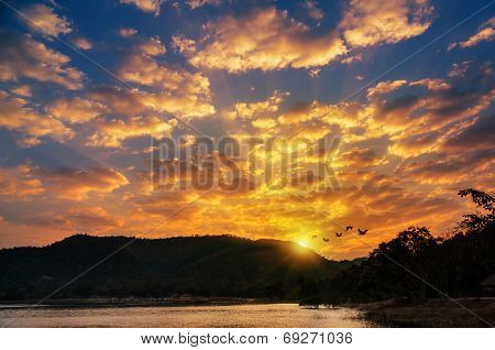 Sunrise Over Mountain