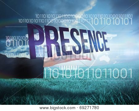 Businesswomans hand presenting the word presence against blue sky over green field