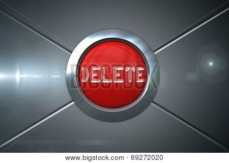 Delete on digitally generated red push button against futuristic screen with lines