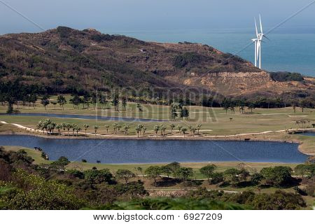 golf place with nice green and Power Windmill after the place
