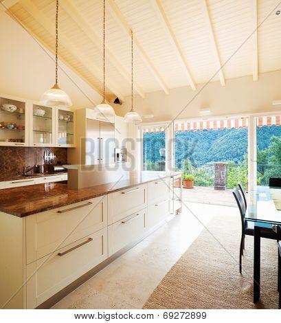 Modern kitchen in the attic