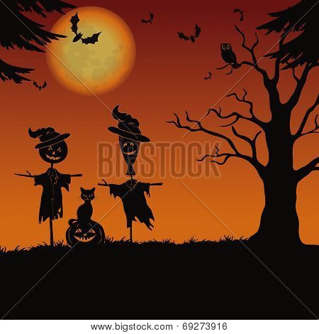 Halloween Landscape, Scarecrows And Pumpkin
