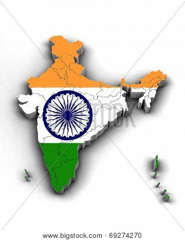 India 3d Map with Telangana and flag