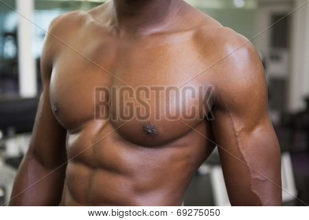 Close-up mid section of a shirtless muscular man standing in gym