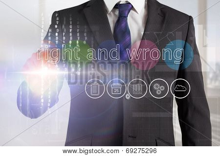 Businessman touching the words right and wrong on interface against abstract white line design in room