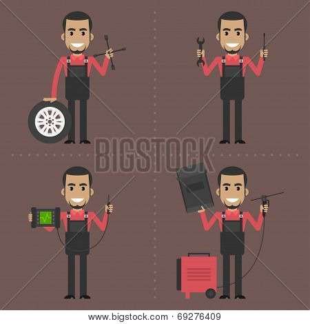 Mechanic holds different instruments
