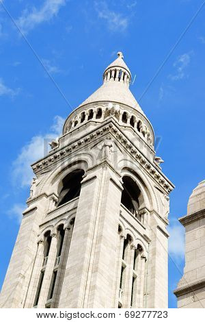 Belltower Of Basilique Du Sacre-coeur In Paris, France