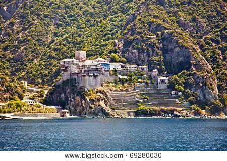 Agios Dionisiou medieval Monastery on Holy Mount Athos. Greece.