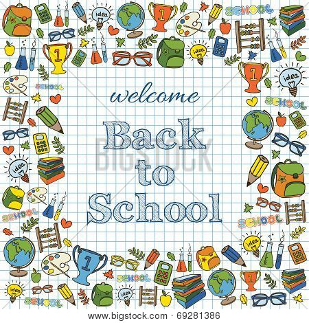 Welcome back to school colored card