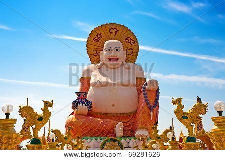 Big Laughing Buddha Statue In Wat Plai Laem, Koh Samui, Thailand