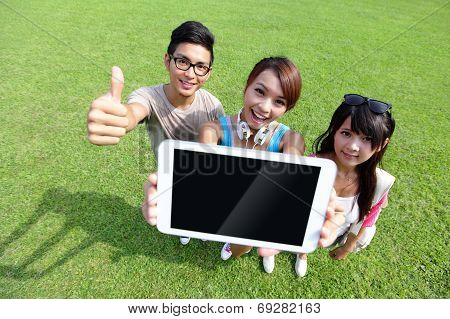 Happy Students Show Digital Tablet
