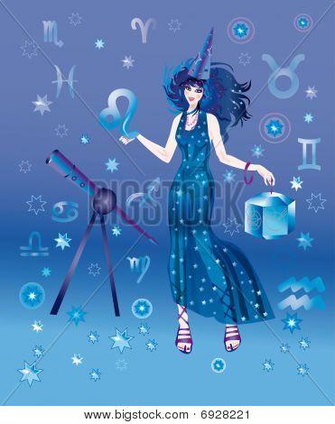 Постер, плакат: Девочка астролог с знак Зодиака Лев персонажа, холст на подрамнике