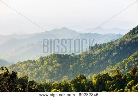 High Angle View Forest Mountain And Sky