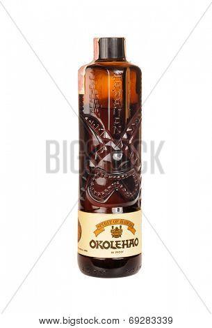Hayward, CA - July 29, 2014: 750 ml bottle of Spirit of Hawaii Okolehao liqueur