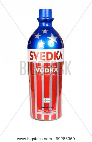 Hayward, CA - July 29, 2014: 1.5 L Party Edition bottle of SVEDKA Vodka imported from Sweden