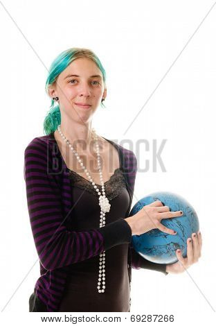 Young woman with bowling ball isolated over white
