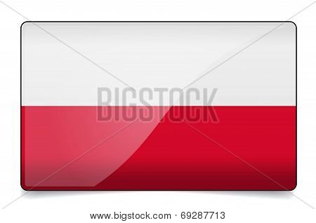 Poland Flag Button With Reflection And Shadow. Isolated Glossy Flag.