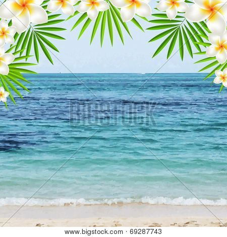 Summer Time Poster With Frangipani, With Gradient Mesh, Vector Illustration