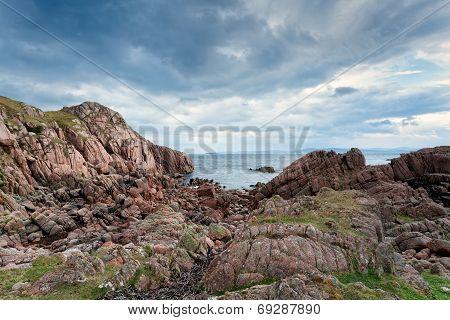 Pink Granite Rocks On Mull, Scotland