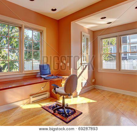 Office Room Interior In Peach Color