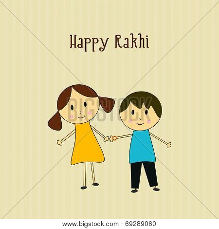 Beautiful greeting card design for Happy Rakhi celebration with cute little boy sister and brother holding hands.