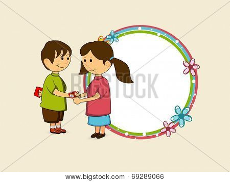 Hindu community festival Happy Raksha Bandhan celebrations with cute little sister tying rakhi on his brother hand and blank sticker for your wishes.